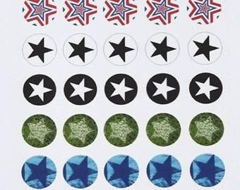 14mm cabochons: print Board 35 digital images-Star (IMP7)