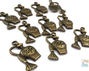"10 charms ""Perfume"" nickel free, antique bronze, 13.5x29mm (bre310)"