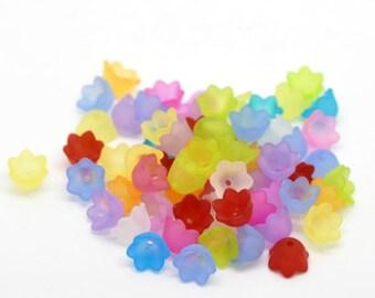 10 Fleur Acrylique mix color bead caps