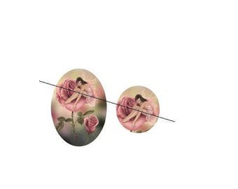 20mm cabochon glass paste Rose2