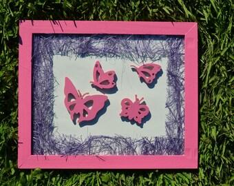 Painting butterflies pink and purple - Deco bedroom girl