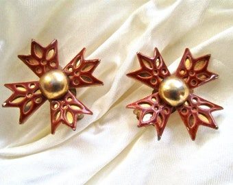 50s 60s Cross Red & Gold Tone Metal Clip On Earrings Vintage