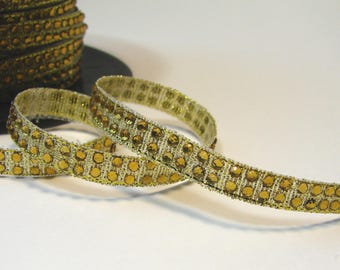 50 cm of Ribbon with gold rhinestones fusible, 0.7 cm