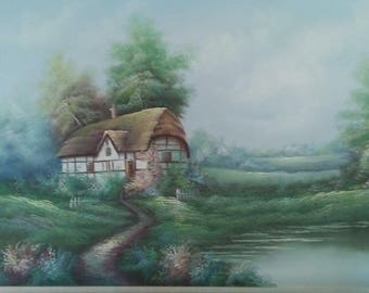 W. Reynolds original oil painting of a cottage