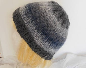 Hand knitted unisex Beanie green pure new wool in shades of blue and gray