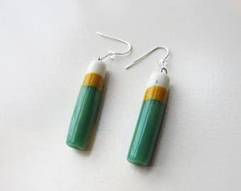 Fimo effect jade stone and silver dangling earrings