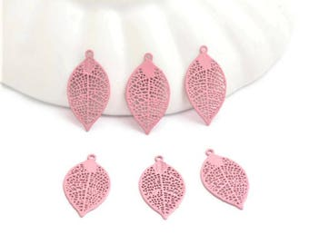 8 prints fine small feathers / leaves bead caps - 19mm - Rose