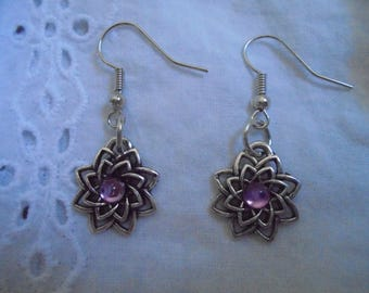 flower earrings with purple rhinestone