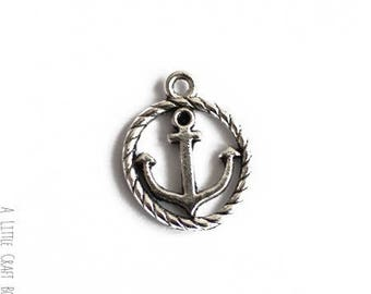 4 antique rope - silver anchor charms
