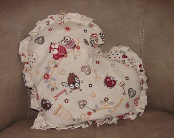 OWL decor ruffled heart cushion