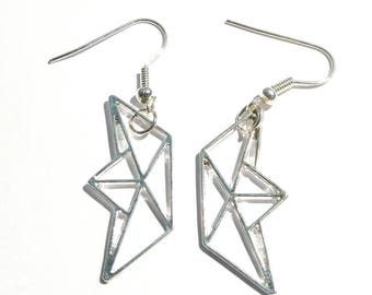 Earrings Metal boat origami imitation