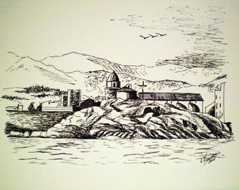 COLLIOURE from the Ouch, 32 x 24 cm, ink