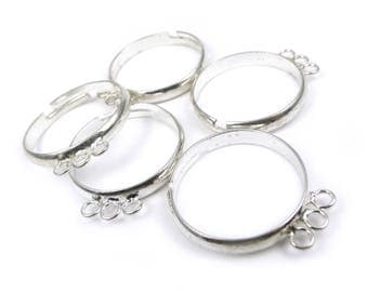 5 x Ring bases with 3 rings to add beads and charms