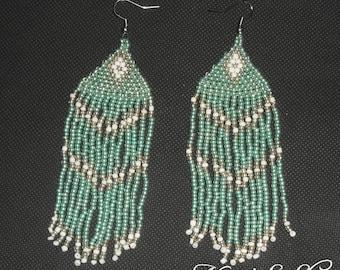 Beaded earrings Mint, white details.