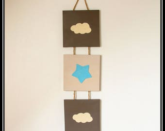Triptych beige taupe blue for boy