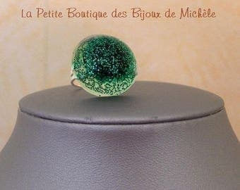 Ring resin and glitter powder Green