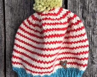 Red Stripe Pom Pom Hat -Hand Knit Child