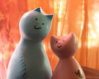 Pair of kitten. Sculpture. Handmade creation. Craft