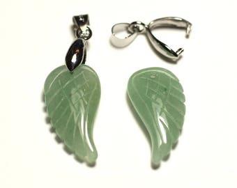 1pc - gemstone pendant - green Aventurine carved wing 24mm - 8741140016804