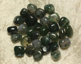 10pc - stone beads - 9-11mm 4558550023759 Nuggets Moss Agate