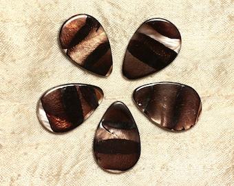 4pc - Pearl drops Brown Zebra 4558550031914 30x20mm