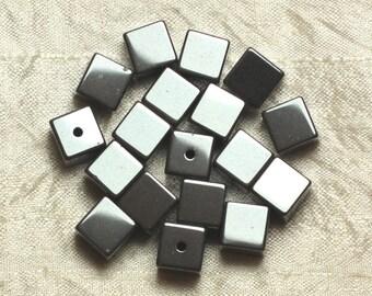 10pc - stone beads - Hematite Cubes 10mm 4558550024527