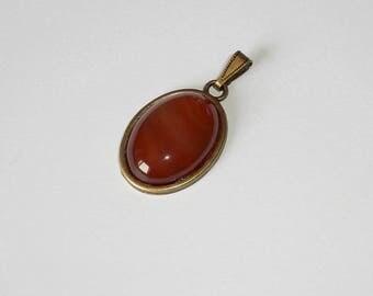 Minimalist unisex Tanis - carnelian Metal bronze - pendant