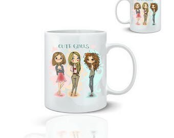 Mug pretty girl - ceramic mug 325 ml