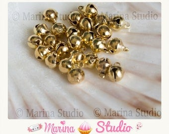 10 bells tone shiny gold 8x6mm