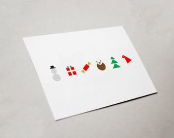 Minimal Icon Christmas Card (x5)