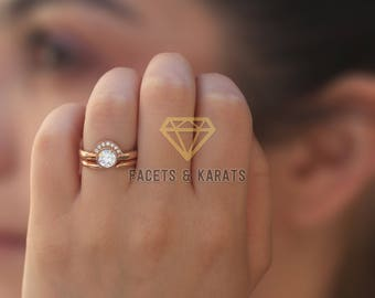 Unique Engagement Ring Wedding Band Bridal Set 14k Solid Rose Gold Unusual Non