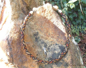 Crocheted seed beads in various brown tones necklace