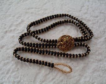 trendy bracelet double wrap black and gold