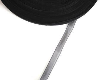 5 meters of 10 mm black organza Ribbon