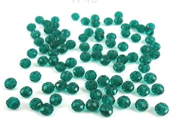 40 faceted 6 mm blue green glass beads