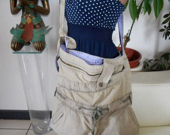 Messenger bag made of reclaimed pants, Khaki purse bag