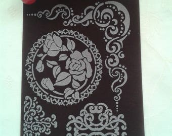 transfer, fusible applique 4 dark brown arabesques and flower patterns