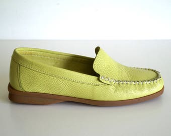 LEONIE Womens shoes Genuine leather shoes Green color shoes Eur size 36 UK 3 Leather mocassins Leather loafers Leather Flats  Oxford Shoes