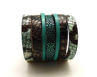 Magnetic 60 mm wide leather Cuff Bracelet
