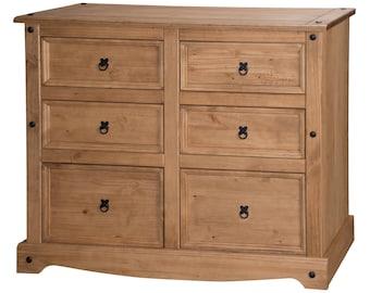 Corona 6 drawer wide chest