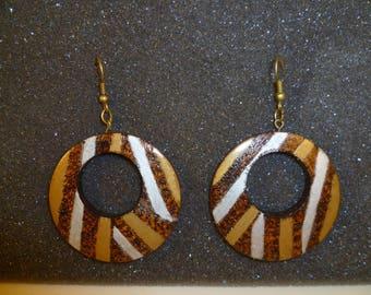 Turned wooden pyrographed bop1 earrings
