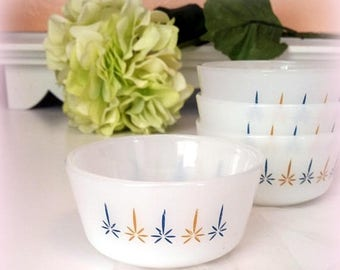 S-A-L-E 60s Fire King Custard Dishes - Candle Glow Pattern - Ovenproof - 6 Oz. Capacity - Use for Ice Cream, Yogurt, Snacks, Garnishes - Set