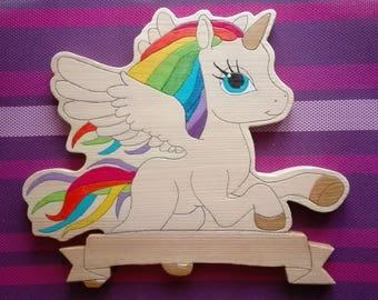 Unicorn wooden door plaque