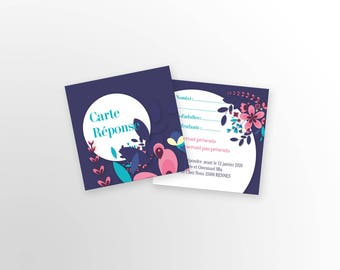 Card answer Wedding - Flower - to customize