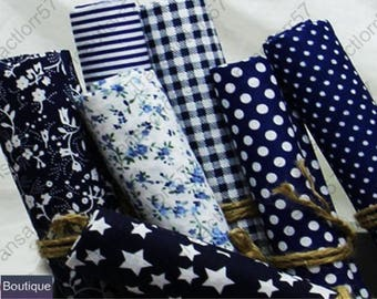 Set of 7 Coupons from cotton fabric 45 x 50 cm Patchwork sewing dark blue tones