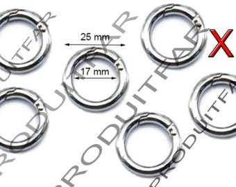 Set of 6 rings lobster clasps color 25 mm silver handle