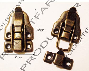 Set of 2 clasps latch lock to close your box treasure chest box 40 X 62 mm screws included