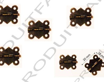 Set of 6 Bronze hinges for box jewelry box chest screw described 20 x 18 mm