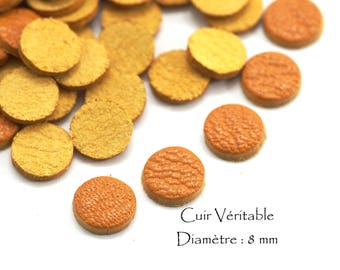 6 round genuine leather - Diam. 8 mm - goat leather - set color yellow mustard