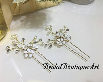 White flower hairpin,wedding hair accessory,bridal hairpin,bridesmaid hairpin